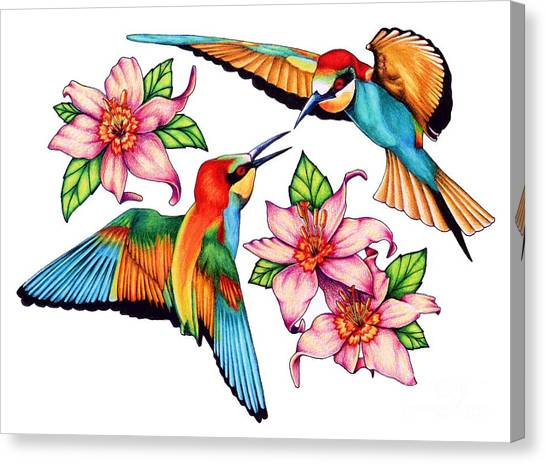 Dancing Bee-eaters  Canvas Print