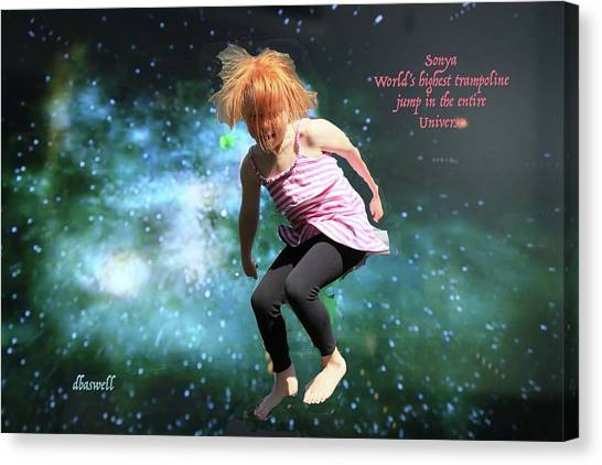 Trampoline Canvas Print - Dancing In Space by Dennis Baswell