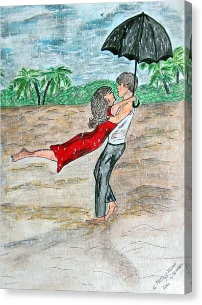 Dancing In The Rain On The Beach Canvas Print
