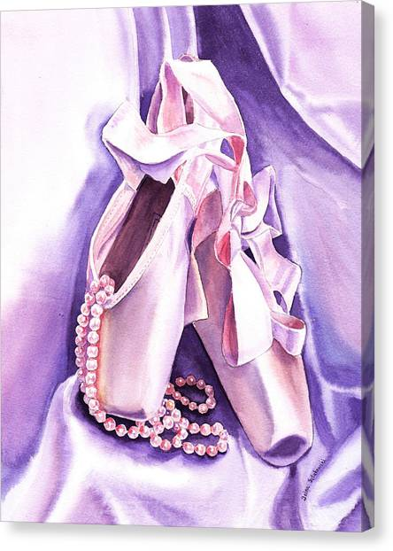 Irina Canvas Print - Dancing Pearls Ballet Slippers  by Irina Sztukowski