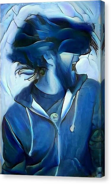 Dancing Portrait Of Wild Male Hair In Blue Canvas Print by MendyZ