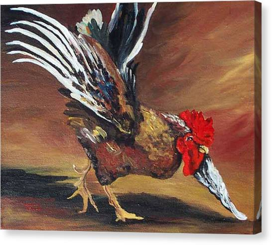 Dancing Rooster  Canvas Print by Torrie Smiley