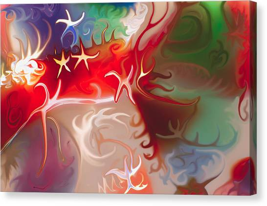 Canvas Print featuring the painting Dancing Stars by Omaste Witkowski