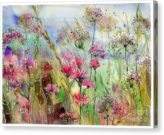 Cosmos Flower Canvas Print - Dancing Thistles by Suzann's Art