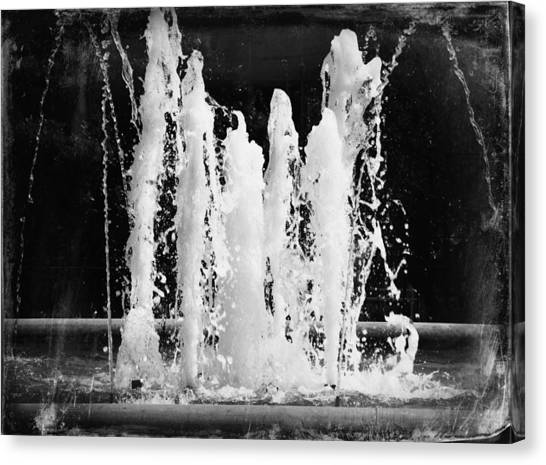 Dancing Waters B/w Canvas Print