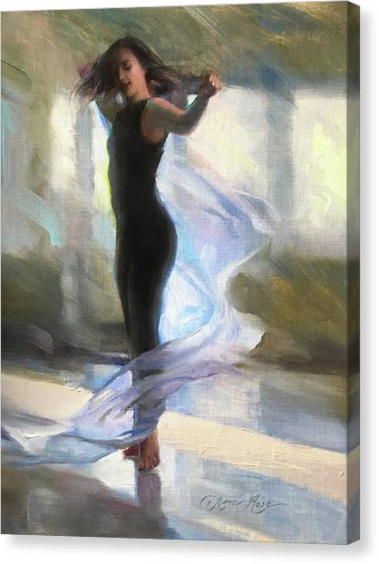 Dance Ballet Roses Canvas Print - Dancing With Gossamer by Anna Rose Bain