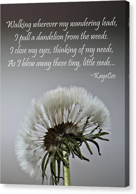 Dandelion Dreams- Fine Art And Poetry Canvas Print
