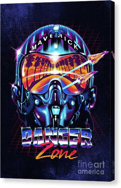 F16 Canvas Print - Danger Zone / Top Gun / Maverick / Pilot Helmet / Pop Culture / 1980s Movie / 80s by Zerobriant Designs