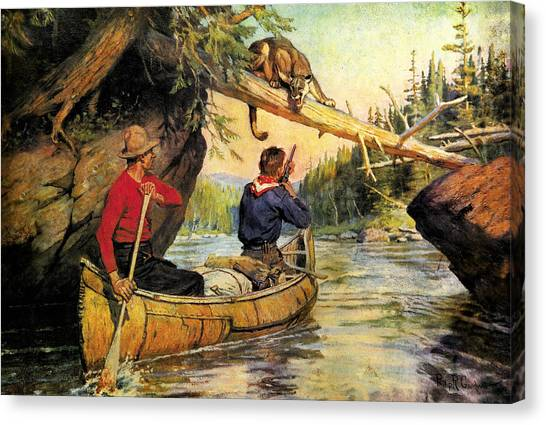Canoe Canvas Print - Dangerous Encounter by JQ Licensing