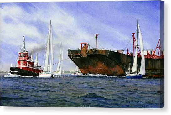 Tugboats Canvas Print - Dangerous Race by Marguerite Chadwick-Juner