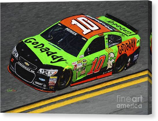 Danica Patrick Canvas Print - Danica Patrick Nascar At Daytona 500  by Garland Johnson