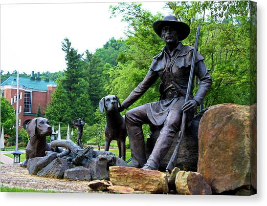 Appalachian State University Asu Canvas Print - Daniel Boone Statue by Selena Wagner