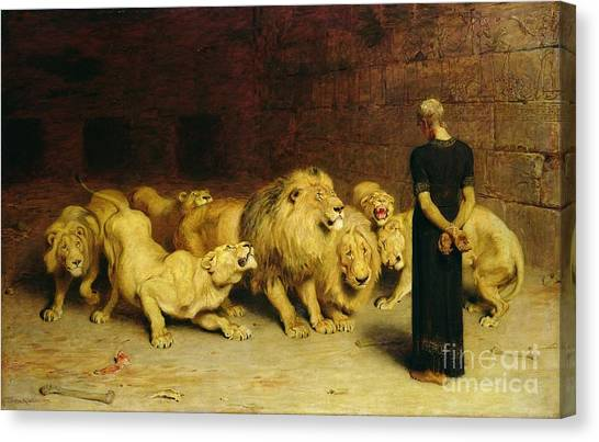 Oil On Canvas Print - Daniel In The Lions Den by Briton Riviere