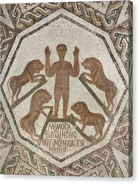 Early Christian Art Canvas Print - Daniel In The Lions' Den by Roman School