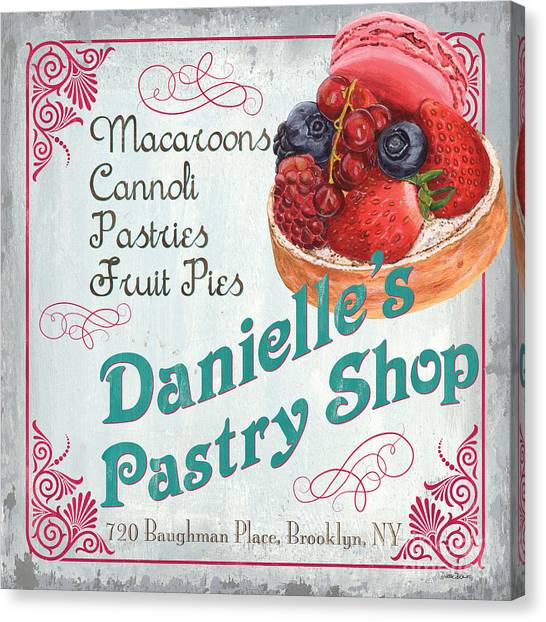 Strawberry Canvas Print - Danielle's Pastry Shop by Debbie DeWitt