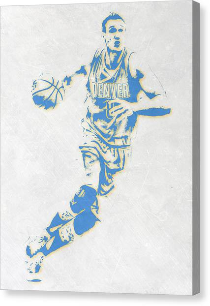 Denver Nuggets Canvas Print - Danilo Gallinari Denver Nuggets Pixel Art by Joe Hamilton