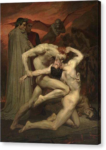Early Middle Ages Canvas Print - Dante And Virgil by Adolphe William Bouguereau