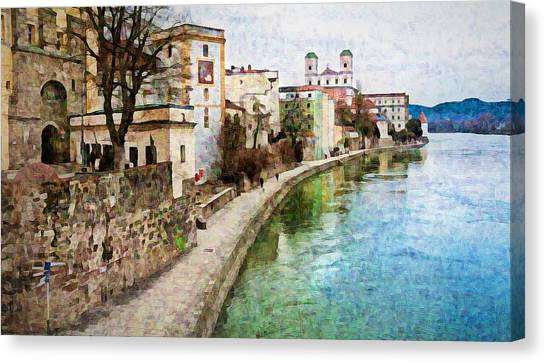 Danube River At Passau, Germany Canvas Print