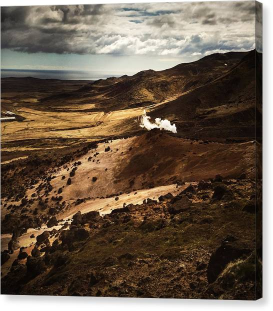 Landscape Canvas Print - Dark And Steaming Iceland by Matthias Hauser