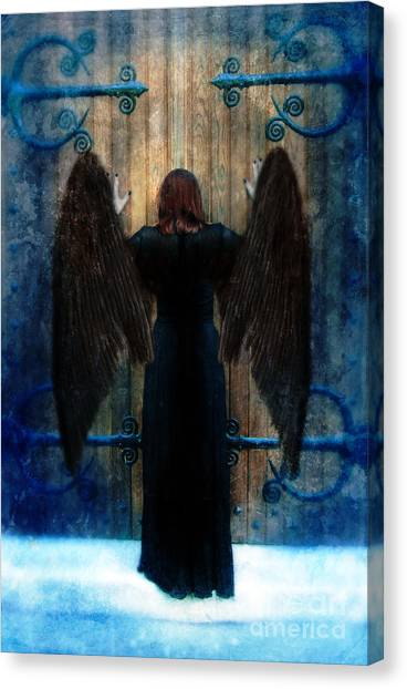 Dark Angel At Church Doors Canvas Print