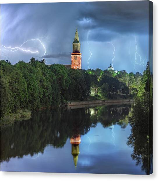 Hailstorms Canvas Print - Dark Blue World by Teemu Kustila