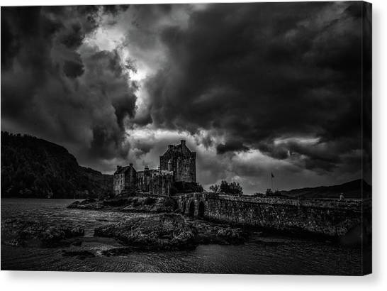 Canvas Print featuring the photograph Dark Clouds Bw #h2 by Leif Sohlman