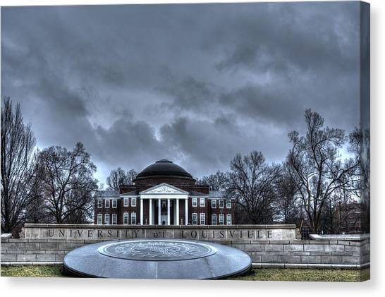 University Of Louisville Canvas Print - Dark Clouds Of Uofl by FineArtRoyal Joshua Mimbs