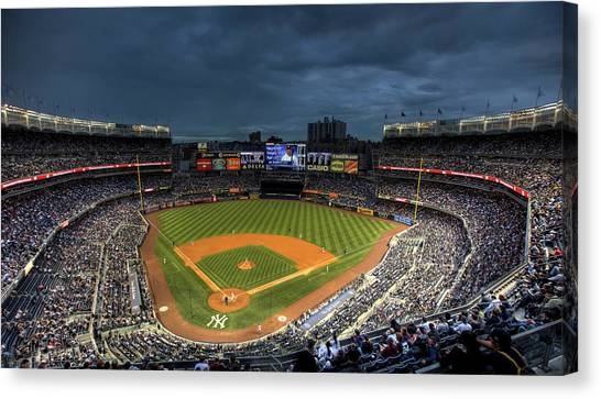 Dark Clouds Over Yankee Stadium  Canvas Print
