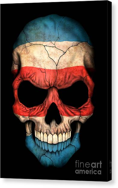 Costa Rican Canvas Print - Dark Costa Rican Flag Skull by Jeff Bartels