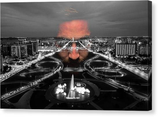 Canvas Print featuring the digital art Dark Forces Controlling The City by ISAW Company