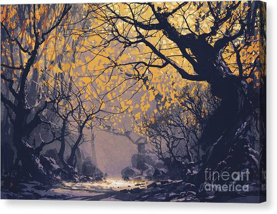 Canvas Print featuring the painting Dark Forest by Tithi Luadthong