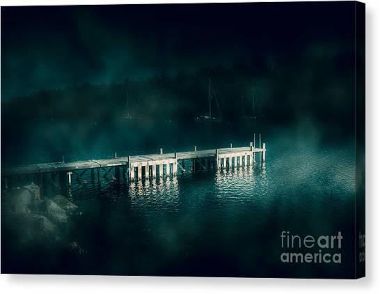 Murky Canvas Print - Dark Haunting Wooden Pier by Jorgo Photography - Wall Art Gallery