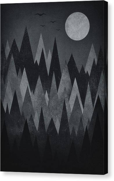 Foggy Forests Canvas Print - Dark Mystery Abstract Geometric Triangle Peak Woods Black And White by Philipp Rietz