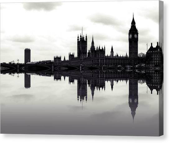London Landmarks Canvas Print - Dark Reflections by Sharon Lisa Clarke