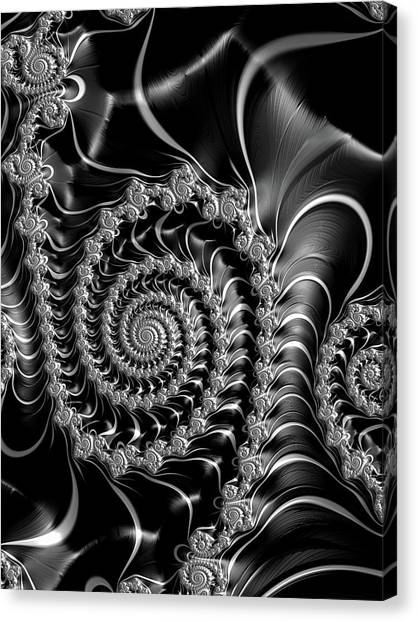 Dark Spirals - Fractal Art Black Gray White Canvas Print