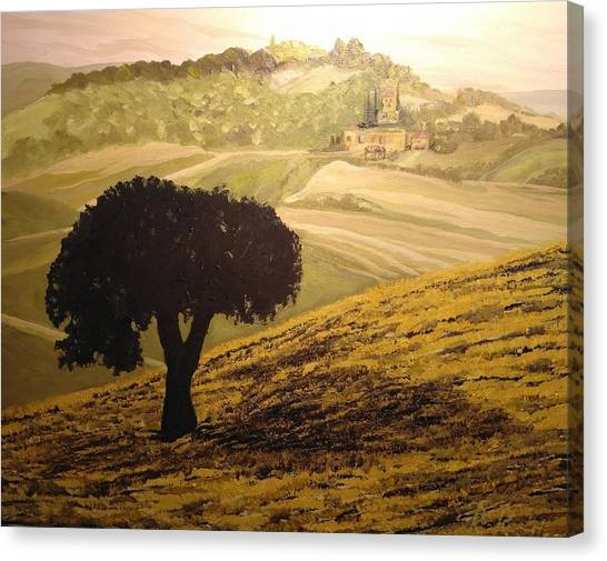 Canvas Print featuring the painting Dark Tree In The Vast by Ray Khalife