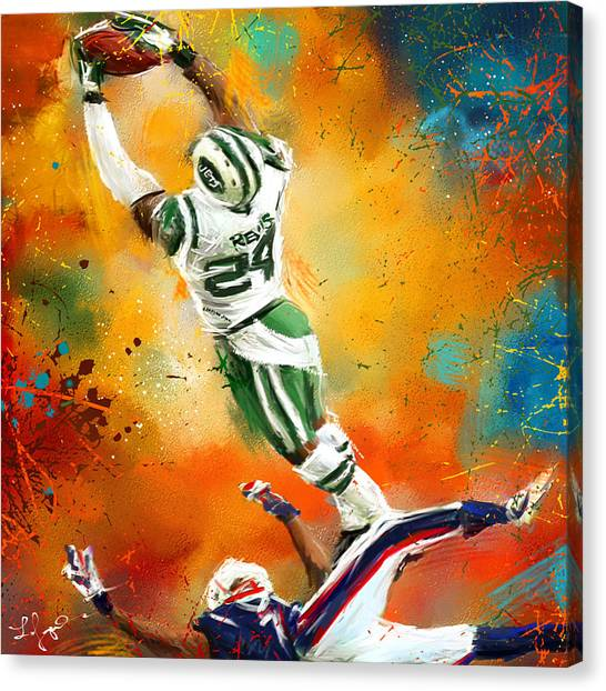 Running Backs Canvas Print - Darrelle Revis Action Shot by Lourry Legarde