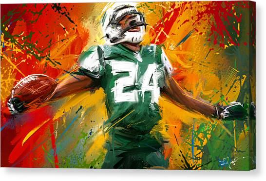 Superbowl Canvas Print - Darrelle Revis Colorful Portrait by Lourry Legarde