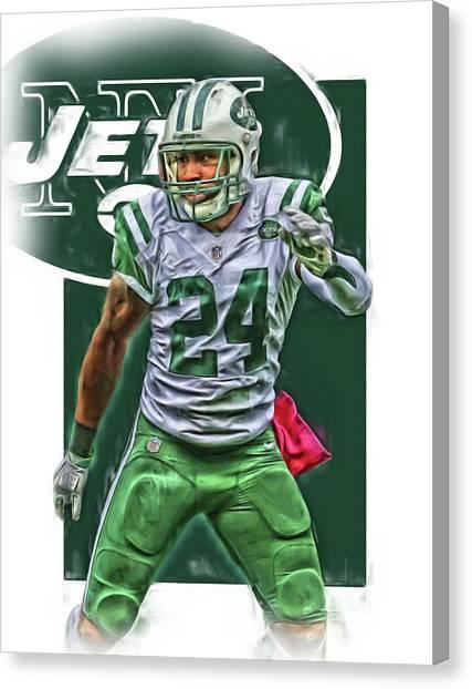 New York Jets Canvas Print - Darrelle Revis New York Jets Oil Art by Joe Hamilton