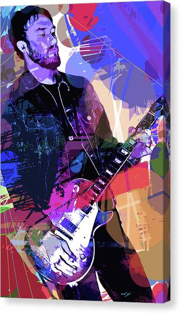 Jimi Hendrix Canvas Print - Darren Glover Les Paul Gibson by David Lloyd Glover