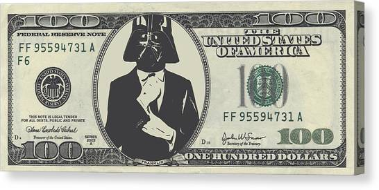 Obi-wan Kenobi Canvas Print - Darth Vader Money by Dan Sproul