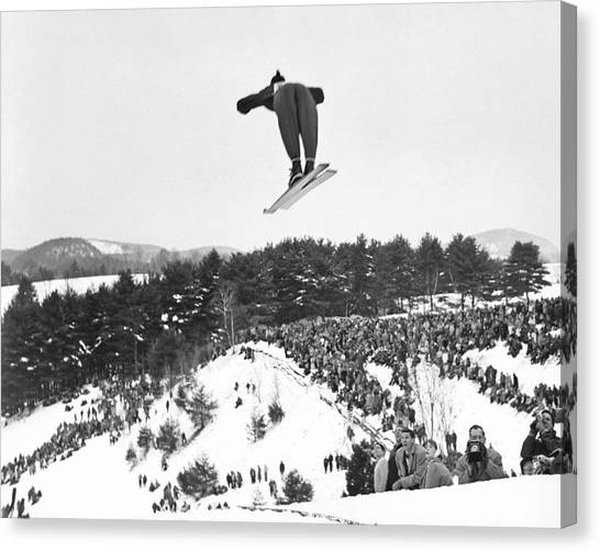 Ski Canvas Print - Dartmouth Carnival Ski Jumper by Underwood Archives