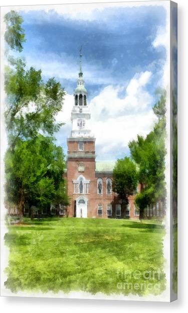 Dartmouth College Canvas Print - Dartmouth College Watercolor by Edward Fielding