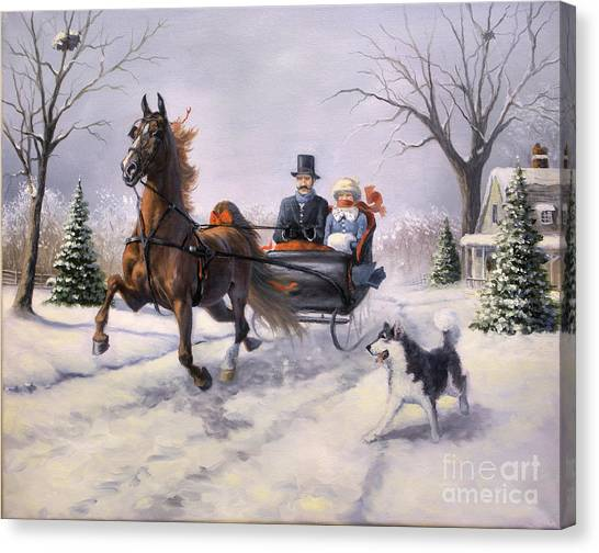 Winter Landscapes Canvas Print - Dashing Through The Snow  II by Jeanne Newton Schoborg