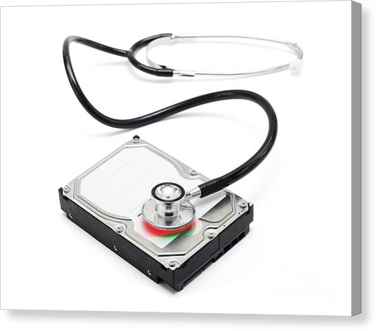 Installation Art Canvas Print - Data Recovery Stethoscope And Hard Drive Disc by Jorgo Photography - Wall Art Gallery