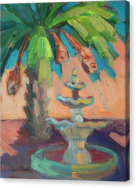 Baja California Canvas Print - date Palm and Fountain by Diane McClary
