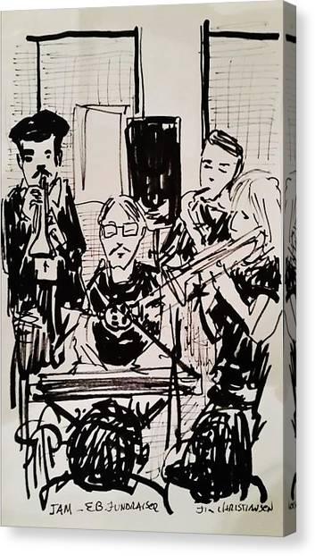 Junior College Canvas Print - Dave Dow Jam At Barkin Dog by James Christiansen
