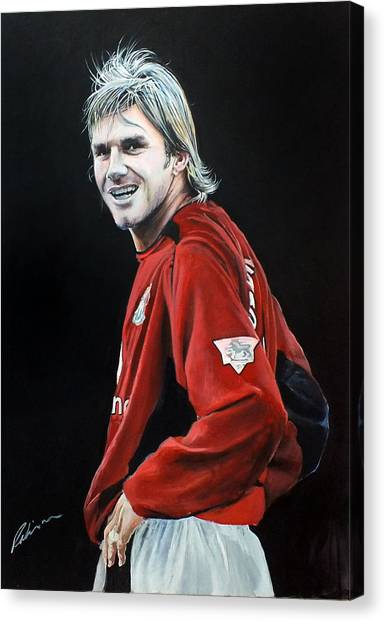 David Beckham Canvas Print - David Beckham 2001/2 Season Man Utd by Mark Robinson
