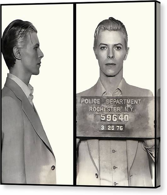 Rocker Canvas Print - David Bowie Mugshot 1976 by Daniel Hagerman