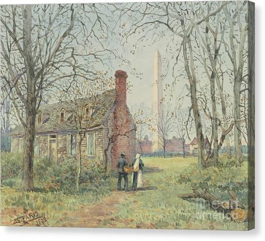 Washington Monument Canvas Print - David Burns's Cottage And The Washington Monument, Washington Dc, 1892  by Walter Paris